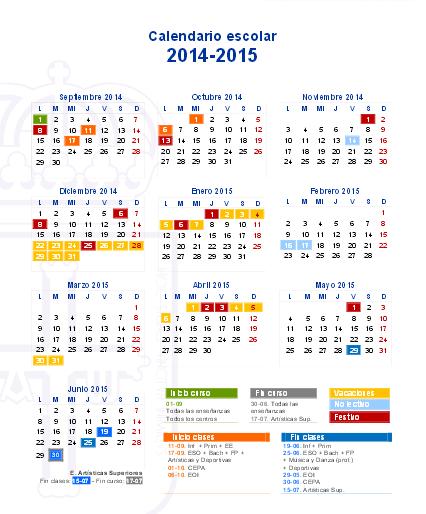 Calendario Escolar Asturias.Calendario Escolar Asturias 2014 2015 Cuidado Infantil