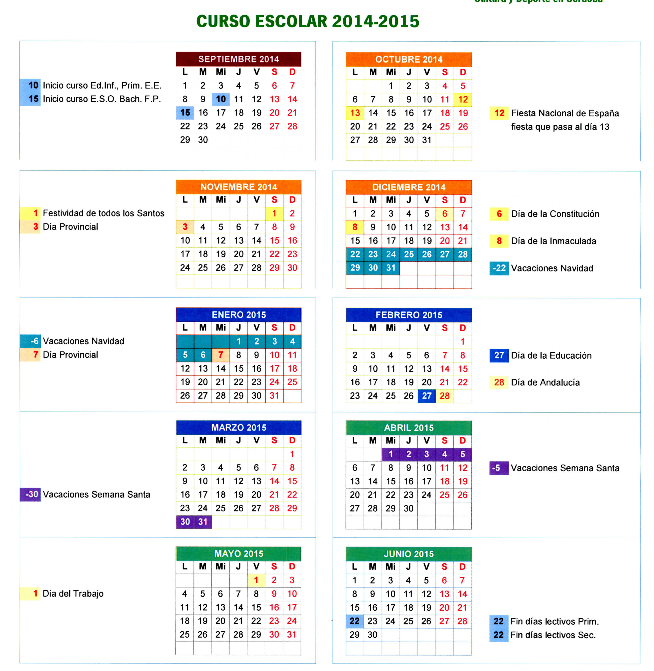 Calendario Escolar Andalucia 2014 2015 Cuidado Infantil